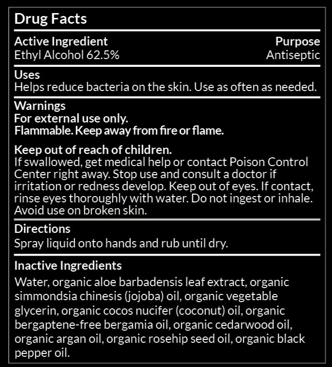 Noshinku Bergamot Pocket Hand Sanitizer Drug Facts